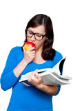 Nerdy female with books Stock Image