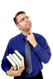 Nerdy geek carry books Royalty Free Stock Photography