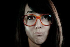 Nerdy - geek face Stock Photo