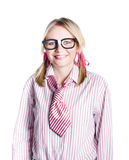 Nerdy young businesswoman Stock Photo