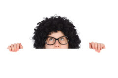 Nerdy girl behind white placard Stock Images