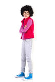 Nerdy girl leaning on the wall Stock Image