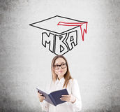 Nerdy girl and an MBA sketch Royalty Free Stock Photos