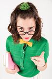 Nerdy girl telling someone off. Royalty Free Stock Images