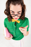 Nerdy girl telling someone off. Royalty Free Stock Photos