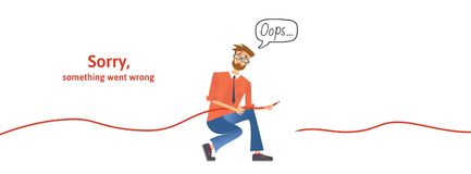 Nerdy guy with disconnected cable in his hands. Text warning message, sorry something went wrong. Oops 404 error page. Vector template for website. Colored royalty free illustration