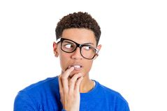 Nerdy guy man in panic and fear Royalty Free Stock Photography