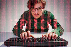 Nerdy guy and red error text Stock Photo