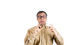 Nerdy guy scared Royalty Free Stock Photo