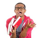 Nerdy guy tensed about exams Stock Image