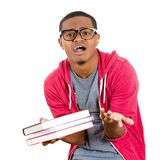 Nerdy guy tensed about exams Royalty Free Stock Photography