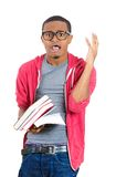 Nerdy guy tensed about exams Royalty Free Stock Images
