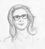 Nerdy long haired man - pencil sketch Stock Image