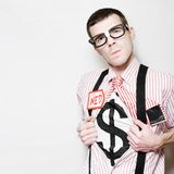 Nerdy Male Superhero Leading A Business To Success. Ned The Nerdy Business Man Opening Shirt Buttons To Reveal Dollar Sign In A Depiction Of A Superhero Leading Royalty Free Stock Images