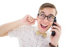 Nerdy modniś opowiada na retro telefonie Obraz Stock