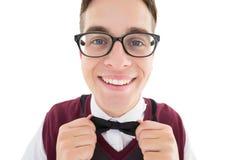 Nerdy modniś załatwia jego łęku krawat Obraz Royalty Free