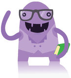 Nerdy monster med en bok Arkivfoton