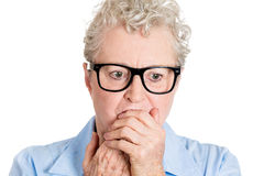 Nerdy nervous old woman Royalty Free Stock Images