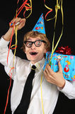 Nerdy party boy Stock Photo
