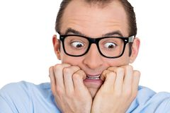 Nerdy scared man Stock Photos