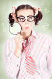 Nerdy School Girl Student With Education Question Royalty Free Stock Photos