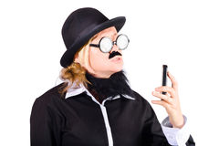 Nerd with mobile telephone Stock Photos