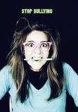 Nerdy woman studying Stock Photo