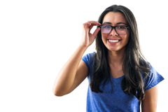 Nerdy woman wearing glasses Royalty Free Stock Photos