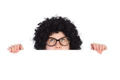 Nerdymeisje achter wit aanplakbiljet Stock Afbeeldingen
