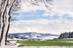 Neresheim con la abadía en invierno Imagenes de archivo