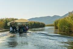 NERETVA,克罗地亚, 2017年9月30日:与游人的小船徒步旅行队neretva河三角洲的,在橘树和橙树之间 免版税库存图片