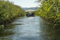 NERETVA,克罗地亚, 2017年9月30日:与游人的小船徒步旅行队neretva河三角洲的,在橘树和橙树之间 库存图片