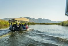 NERETVA, CROATIA, SEPTEMBER 30, 2017: boat safari with tourist o stock photos
