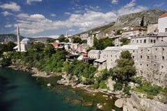 Neretva river and Kujundziluk. Panoramic view of Neretva river and old cobbled street Kujundziluk, from The Old Bridge in Mostar, Bosnia and Herzegovina Royalty Free Stock Photo