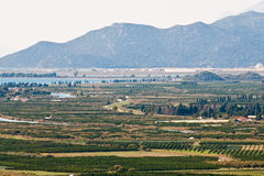 Neretva valley with crops on sunny day. Beautiful Neretva valley in southern Croatia with many crop fields on sunny day Royalty Free Stock Images