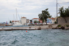 Nerezine coast harbour, Croatia. 2016 Royalty Free Stock Images
