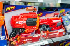 Soest, Germany - January 12, 2019: NERF Toy Guns for sale stock image