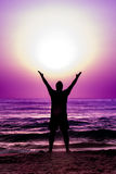 Énergie Sun solaire de puissance navale d'homme de silhouette Image libre de droits