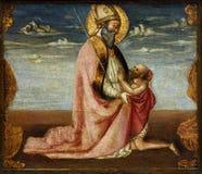 Neri di Bicci: St Martin и попрошайка Стоковое Фото
