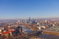 Neris river and business district Snipiskes. Vilnius, Lithuania Stock Images