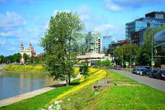 Neris river and city view on spring Stock Photo