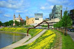 Neris river and city view on spring Royalty Free Stock Image