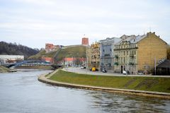 Neris River and Gediminas castle in Lithuania Stock Image