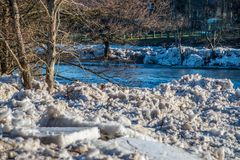Neris river ice broken on a bank Royalty Free Stock Images