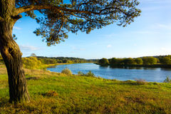 Neris River. September landscape of Neris River in Lithuania Stock Photo