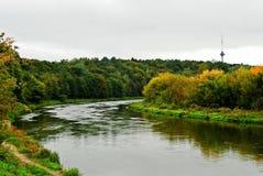 Neris river in the Vilnius city Zverynas district Royalty Free Stock Photos