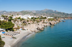 Nerja Beach Andalusia Spain. View of Nerja beach Spain looking east on a sunny day Stock Images