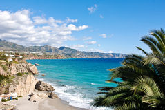 Nerja Beach and City Royalty Free Stock Photography