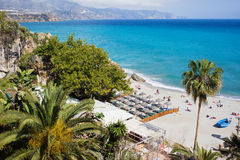Nerja Beach on Costa del Sol. Costa del Sol beach in resort town of Nerja at the Mediterranean Sea in southern Spain royalty free stock photos
