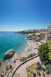 Nerja beach, famous touristic town in costa del sol, Málaga, Andalusia, Spain. Royalty Free Stock Image